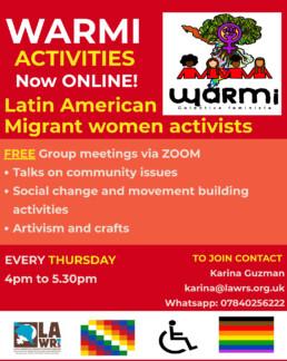 LAWRS Community Activist WARMI Activities Group Meetings Online